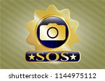 gold emblem or badge with... | Shutterstock .eps vector #1144975112