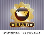 gold emblem with folder icon... | Shutterstock .eps vector #1144975115