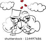 cartoon wedding picture | Shutterstock .eps vector #114497686