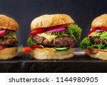 hamburger with beef meat burger ... | Shutterstock . vector #1144980905
