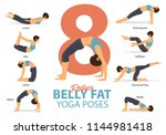 a set of yoga postures female... | Shutterstock .eps vector #1144981418