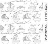 coloring books  sea boats sea... | Shutterstock .eps vector #1144981628