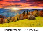 Stock photo the mountain autumn landscape with colorful forest 114499162