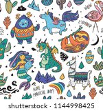 seamless childish pattern with... | Shutterstock .eps vector #1144998425