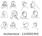 continuous line  drawing of set ... | Shutterstock .eps vector #1145001905