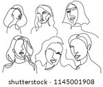 continuous line  drawing of set ... | Shutterstock .eps vector #1145001908