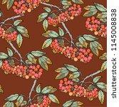 seamless pattern branch sorbus. ... | Shutterstock .eps vector #1145008838