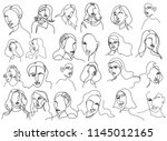 continuous line  drawing of set ... | Shutterstock .eps vector #1145012165