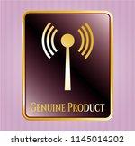 gold emblem with antenna... | Shutterstock .eps vector #1145014202