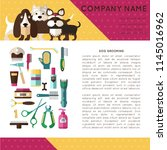 banner with grooming dogs  ... | Shutterstock .eps vector #1145016962