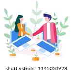concept the investor holds... | Shutterstock .eps vector #1145020928