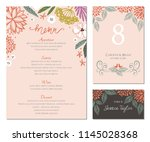 wedding menu  table number and... | Shutterstock .eps vector #1145028368