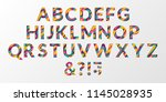 vector of colorful layered font ... | Shutterstock .eps vector #1145028935