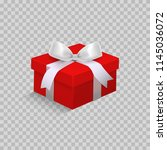 red gift box with ribbon and... | Shutterstock .eps vector #1145036072