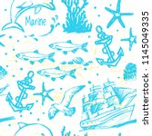 ink hand drawn marine world... | Shutterstock .eps vector #1145049335