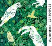 ink hand drawn jungle seamless... | Shutterstock .eps vector #1145049338