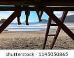 happy kids have fun on beach... | Shutterstock . vector #1145050865