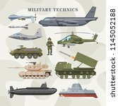 military technics vector army... | Shutterstock .eps vector #1145052188