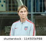 Small photo of East Hartford, CT - July 29, 2018: Head coach of USA Jill Ellis attends Tournament of Nations game against Australia at Pratt & Whitney stadium