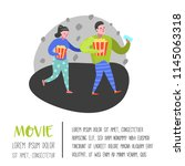 cartoon people with popcorn and ... | Shutterstock .eps vector #1145063318