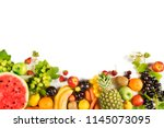 Assorted Fruits On Isolated...