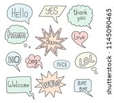 hand drawn speech bubble doodle ... | Shutterstock .eps vector #1145090465