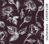 roses seamless pattern. a... | Shutterstock .eps vector #1145091158