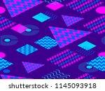 memphis seamless pattern.... | Shutterstock .eps vector #1145093918