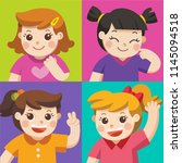 set of different kids with... | Shutterstock .eps vector #1145094518