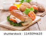 sandwich  with bread and... | Shutterstock . vector #1145094635