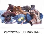 man's accessories and jeans | Shutterstock . vector #1145094668