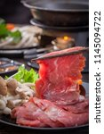 sliced beef for shabu shabu | Shutterstock . vector #1145094722