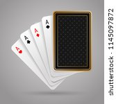 four aces in five playing card... | Shutterstock .eps vector #1145097872