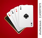four aces in five playing card...   Shutterstock .eps vector #1145097875