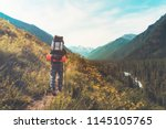 tourist with hiking backpacks... | Shutterstock . vector #1145105765