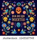 Stock vector day of the dead dia de los moertos banner with colorful mexican flowers fiesta holiday poster 1145107745