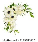 white anemones  eucalyptus... | Shutterstock . vector #1145108432