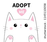 adopt me. white contour cat... | Shutterstock .eps vector #1145110058