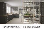 kitchen living room shelving...   Shutterstock . vector #1145110685