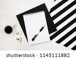 stylish minimalistic workspace ... | Shutterstock . vector #1145111882