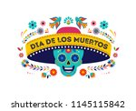 day of the dead  dia de los... | Shutterstock .eps vector #1145115842