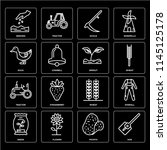 set of 16 icons such as hoe ...