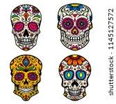 set of colorful sugar skull... | Shutterstock .eps vector #1145127572