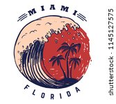 miami. poster template with...   Shutterstock .eps vector #1145127575