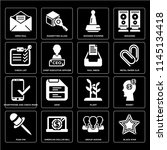 set of 16 icons such as black...