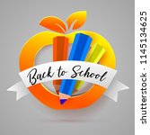 back to school apple frame with ... | Shutterstock .eps vector #1145134625