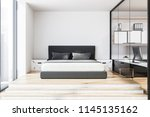 front view of a bedroom and... | Shutterstock . vector #1145135162