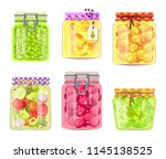 preserved fruits and vegetables ... | Shutterstock .eps vector #1145138525