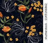 tropical vector seamless flower ... | Shutterstock .eps vector #1145146862