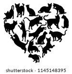 a cat heart silhouette concept... | Shutterstock .eps vector #1145148395
